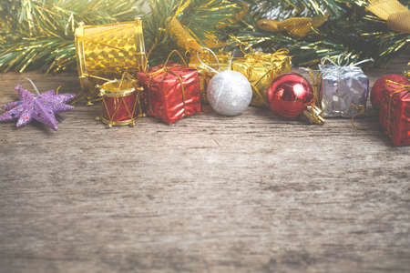 chrismas: Chrismas baubles and vary of decoration on wood background vintage color Stock Photo