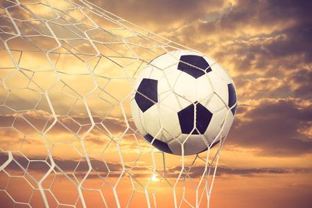 the net: soccer ball in goal net vintage color