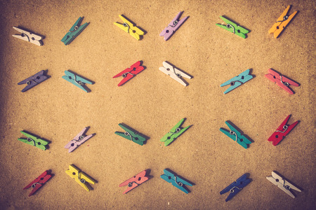 multiple objects: Collection of colorful paper clips flat lay Style.vintage color