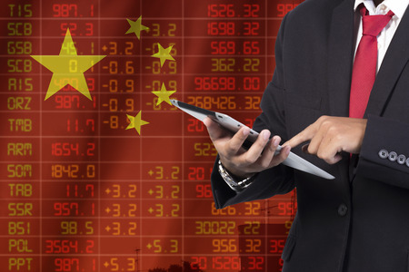 ticker: concept of china stock market ticker