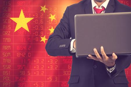 ticker: concept of china stock market ticker