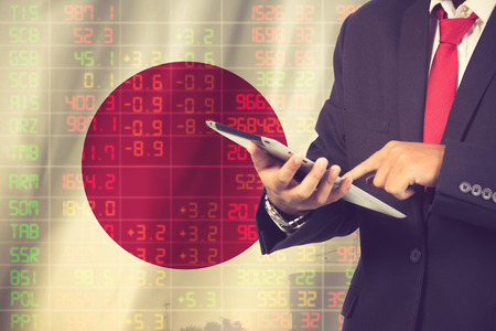 concept of japan stock market ticker.Vintage color