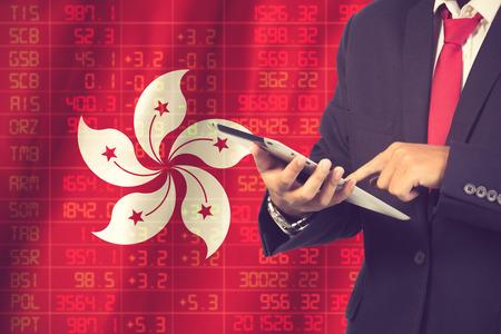 concept of hong kong stock exchange.Vintage Color Standard-Bild