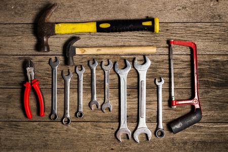 allen key: Old tool renovation on grunge wood
