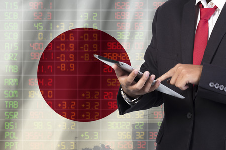 concept of japan stock market ticker