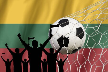 league of nations: silhouettes of Soccer fans with flag of Lithuania .Cheer Concept