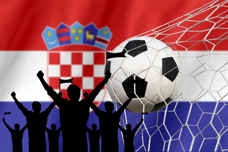 silhouettes of Soccer fans with flag of Croatia .Cheer Concept
