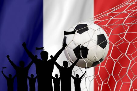 silhouettes of Soccer fans with flag of France .Cheer Concept