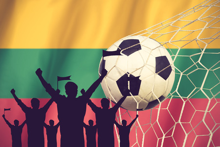 league of nations: silhouettes of Soccer fans with flag of Lithuania .Cheer Concept vintage color