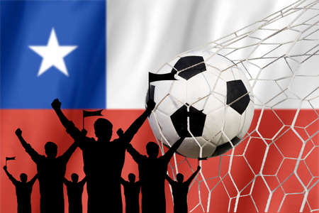 soccer fans: silhouettes of Soccer fans with flag of Chile .Cheer Concept