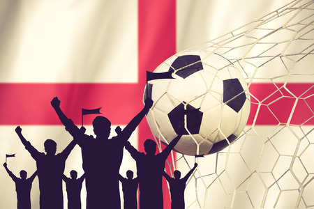 silhouettes of Soccer fans with flag of England .Cheer Concept vintage color