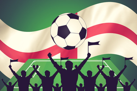 soccer fans: silhouettes of Soccer fans and flag of england vintage color