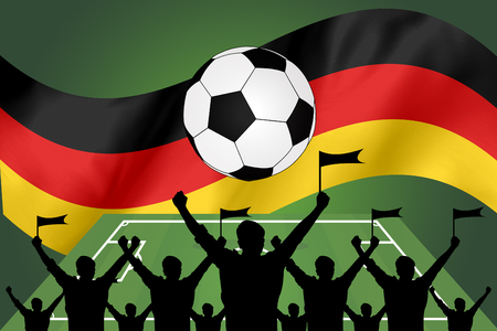 the fans: silhouettes of Soccer fans and flag of germany
