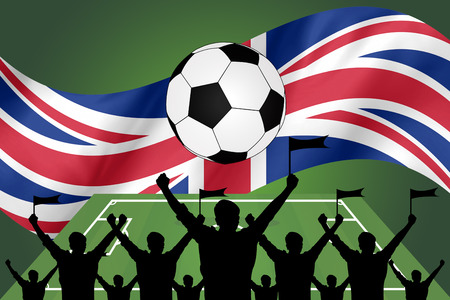 the fans: silhouettes of Soccer fans and flag of United Kingdom  . premier league concept