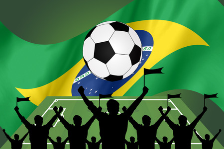soccer fans: silhouettes of Soccer fans and flag of brazil Stock Photo