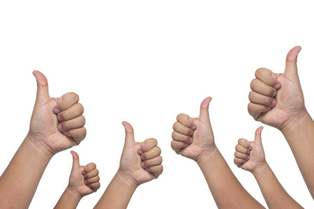 congratulate: Many people congratulate a winner and holding their thumbs up on whitr background Stock Photo