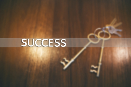 reside: The Key to Success. Key on a wooden background. Stock Photo