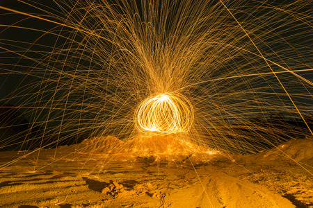 steel wool: Burning steel wool fireworks post-process HDR Style Stock Photo