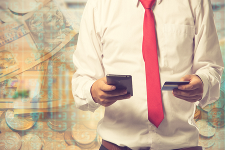 technology transaction: Online Banking Financial Transaction Technology Concept.Vintage color