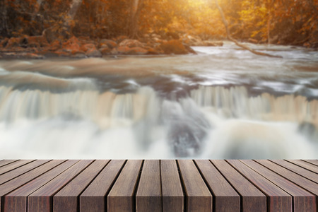 nant: Beautiful waterfall with wooden planks can be used for display or montage your products.