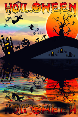 flying bats: Halloween Background. Halloween orange background with many flying bats, old house, moon, trees. Stock Photo