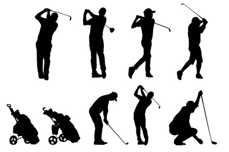 Golf players and equipment silhouettes Reklamní fotografie