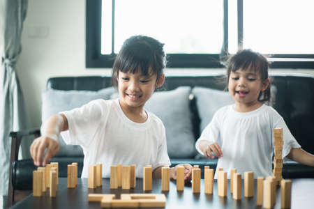 Two happy siblings playing a game with wooden blocks at home joyfully Reklamní fotografie