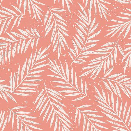 エキゾチックな葉描かれたシルエットの手のひらでシームレスなパターンをベクトルの葉します。