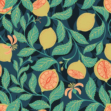 ライム葉とシームレスなフルーツ パターン ベクトル  イラスト・ベクター素材