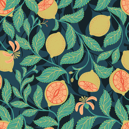 Vector seamless fruit pattern with limes and leaves Illustration