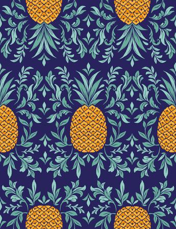 熱帯ベクトル シームレス パターン パイナップルの葉と夏の印刷
