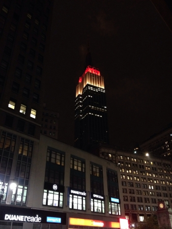 Empire State iluminated in the night.