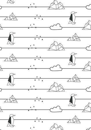 Monochrome penguin antarctic seamless repeated pattern vector