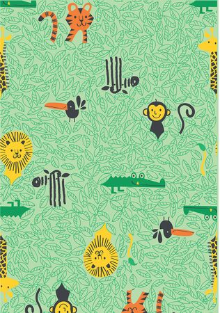 Jungle animals indian ethnic forest seamless pattern for kids