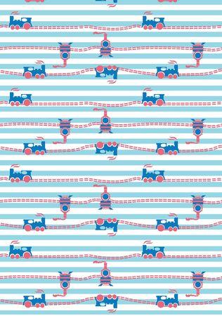 Kids train with striped background seamless pattern Çizim