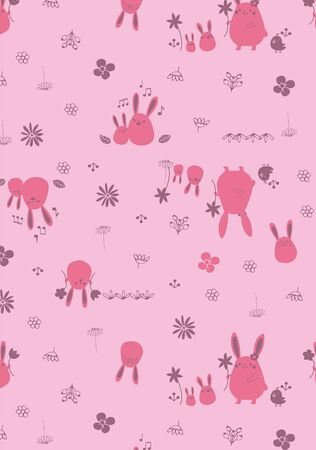 Pink rabbit bunny seamless repeated pattern for baby apparels Stock Illustratie