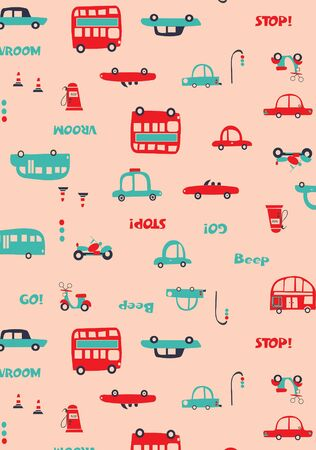 City cars bus traffic lights seamless repeated pattern for kids