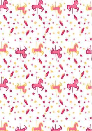 Carousel horse kids pink seamless repeated Pattern
