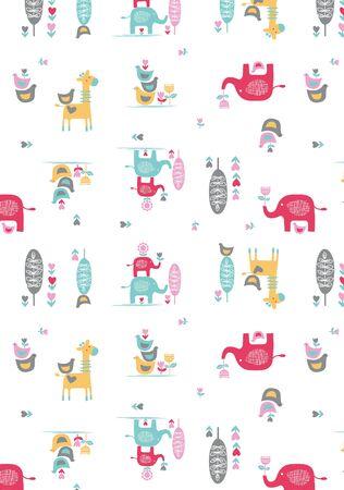 Elephant Giraffe repeated pattern vector