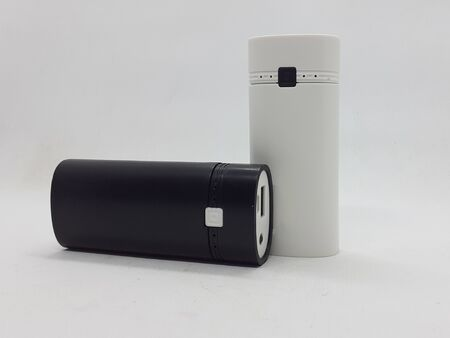 Modern Colorful Power Bank Design with 18650 Battery Type for Electronic Device Charger in White Isolated Background