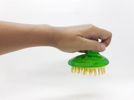 Handheld Green Transparent Cleaning Brush Design for Kitchen and Bathroom Hygiene Care Service Tools in White Isolated Background