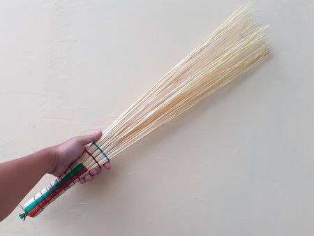 Wooden Traditional Ethnic Artistic Effective Handmade Brush Broom Stick in White Isolated Background 版權商用圖片