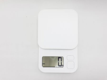 Electronic Modern Digital Scale for Cooking Kitchen Appliances in White Isolated Background Banque d'images