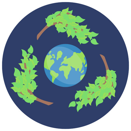 Vector sticker recycling, save green planet, vector icon