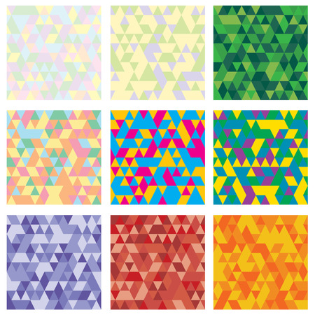 Set of 9 geometric pattern. Mosaic. Texture with triangles, rhombus. Abstract background an be used for wallpaper, pattern fills, web page background, surface textures. Vector Ilustração