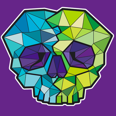 Funny geometric colorful skull. Vector icon or sticker Illustration