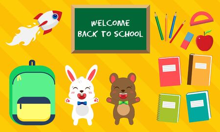 Back to school. Vector set of education icons in kawaii style. Bunny and bear with bow tie, green bag, book, pen, apple, ruler, rocket, eraser, labels 向量圖像