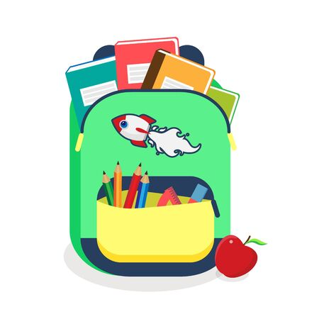 Colorful schoolbag with school supplies. Backpack with zippers isolated on white background. Vector illustration back to school. Eps 10.