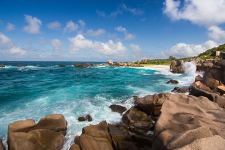 la digue: Landscape view of Anse Marron beach in La Digue Island Stock Photo