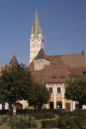 The tower of the fortified church of Medias - St. Margaret's Church - Romania, Transylvania, Sibiu